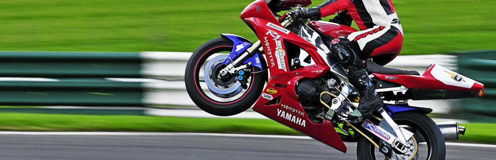 Motorcyclist on a red Yamaha motorcycle